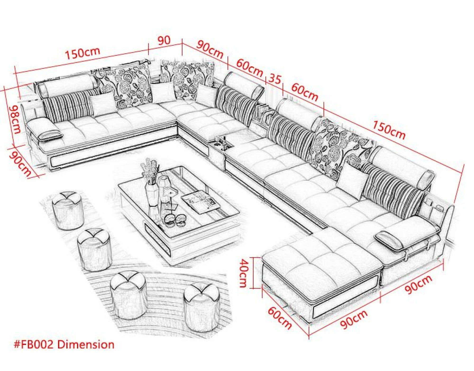Luxury Modern U Shaped Leather Fabric Corner Sectional Sofa Set