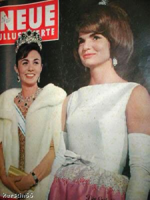 German magazine cover with Empress Farah and First Lady Jackie Kennedy during the Persian Royal couple's state visit to the US in 1962.