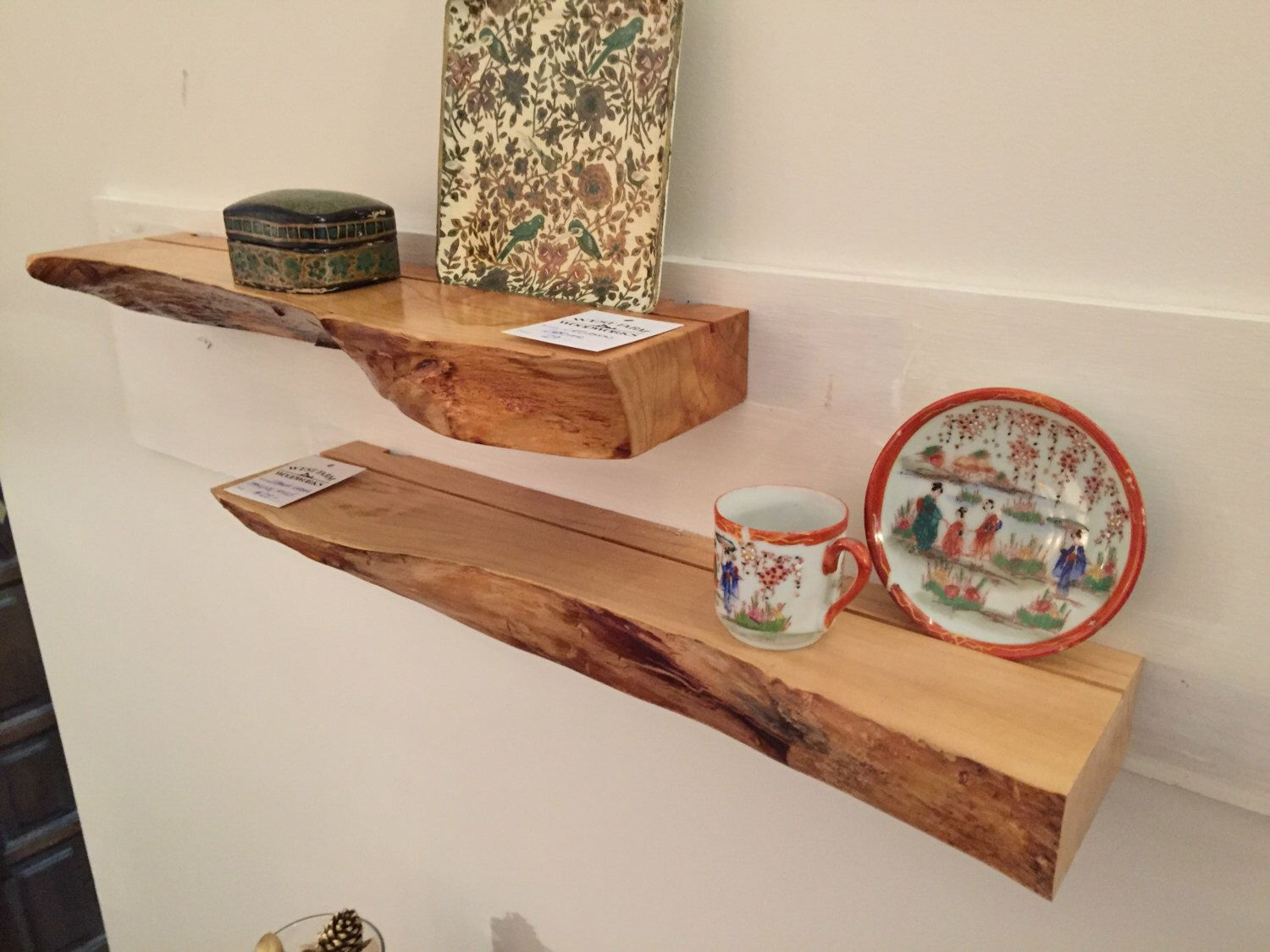 Live Edge Floating Shelf In Cherry Maple Or Walnut Etsy Floating Shelves Wood Floating Shelves Shelves