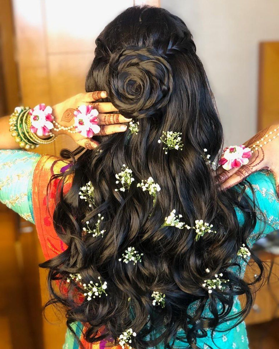 It S A Baby Shower And We Couldn T Help But Make Her Hair Look Like It Was In Full Bloom Dishadshah Hair Hair Styles Beautiful Hair Long Hair Styles