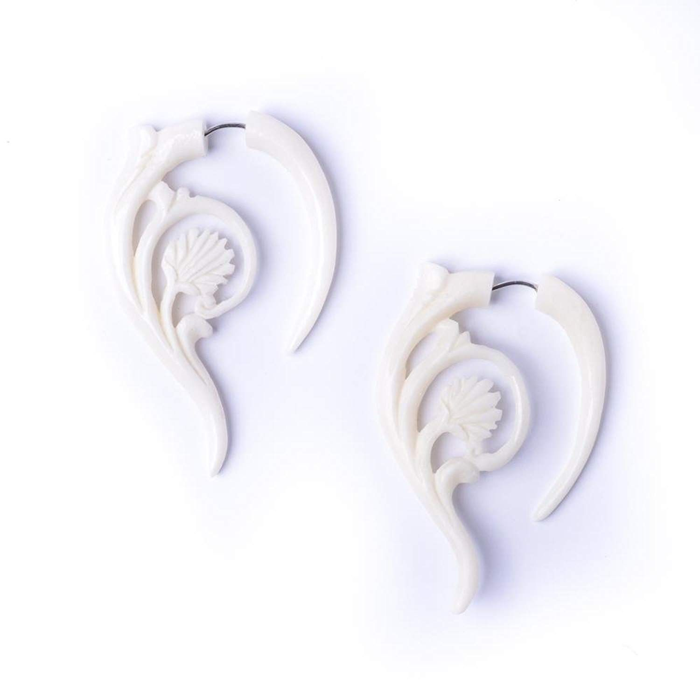 81stgeneration Womens Mens White Bone Fake Taper Stretcher Plug Twisted Tribal Earrings