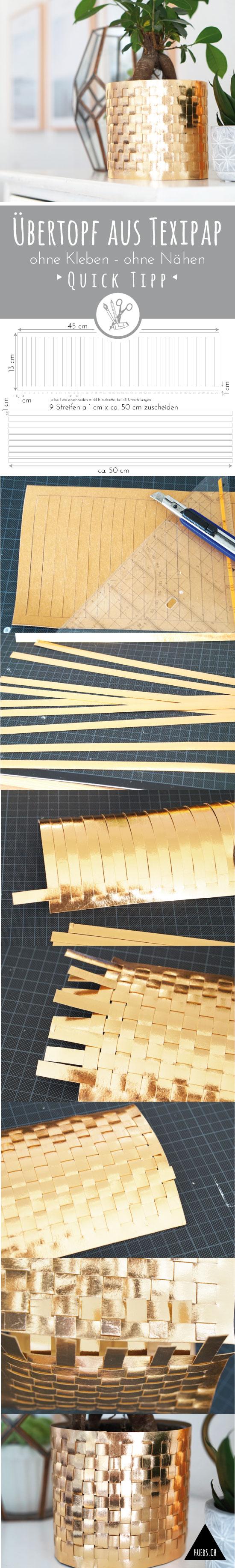 Lovely Kupferfarbener bertopf aus Texipap veganes Leder ein schnelles DIY ohne Kleben und ohne