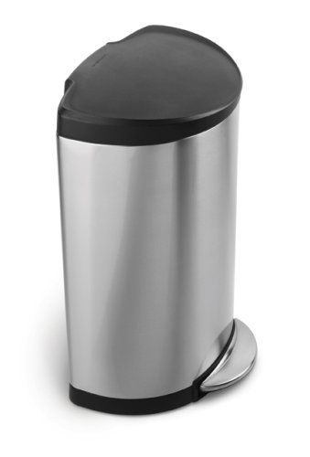 The Simplehuman Semi Round Step Can Has A Flat Back For Easy Placement Against Wall And Out Of Way Its Large Capacity Is Ideal Busy Areas