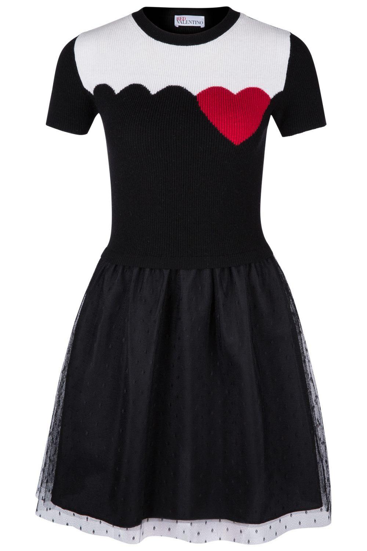 Red Valentino Damen Kleid mit Tüllrock Schwarz ...