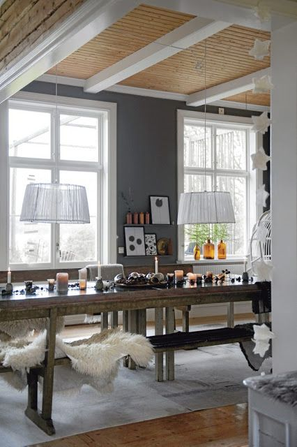 Grey, wood, and light equals magic  For the living room.