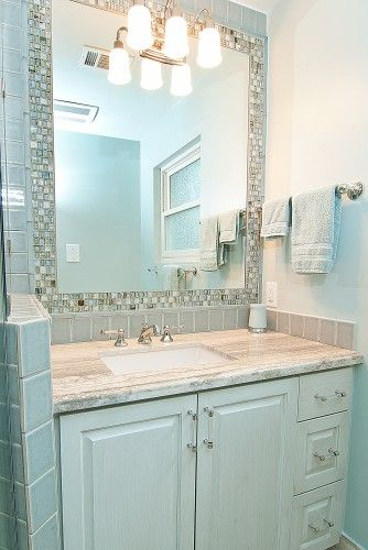 General Layout Of Sink And Vanity Area Tile Inlaid Around Mirror Set Flush To Surface Bathroom Mirror Design Elegant Bathroom Bathroom Mirrors Diy