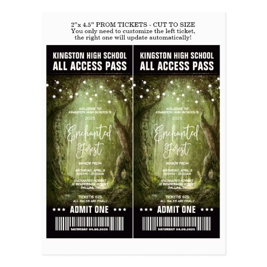 Enchanted Forest Prom Admission Tickets Template Postcard Ticket