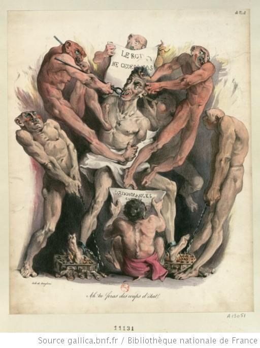 """""""Ah ! tu feras des coups d'état"""", ricanent les démons, heureux de leur proie, en faisant subir à Charles X les supplices infernaux : [estampe] -Lith. de Langlumé-1830"""