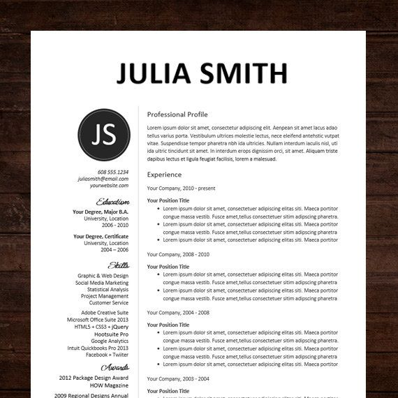 Resume / CV Template, Professional Resume Design for Word Mac or PC