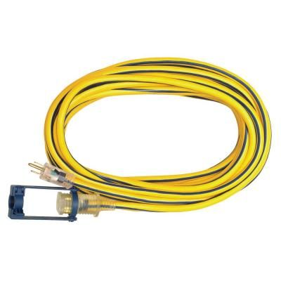 Voltec 25 Ft 12 3 Sjtw Outdoor Extension Cord With E Zee Lock And Lighted End Yellow With Blue Stripe 05 00105 Outdoor Extension Cord Blue Stripes Extension Cord