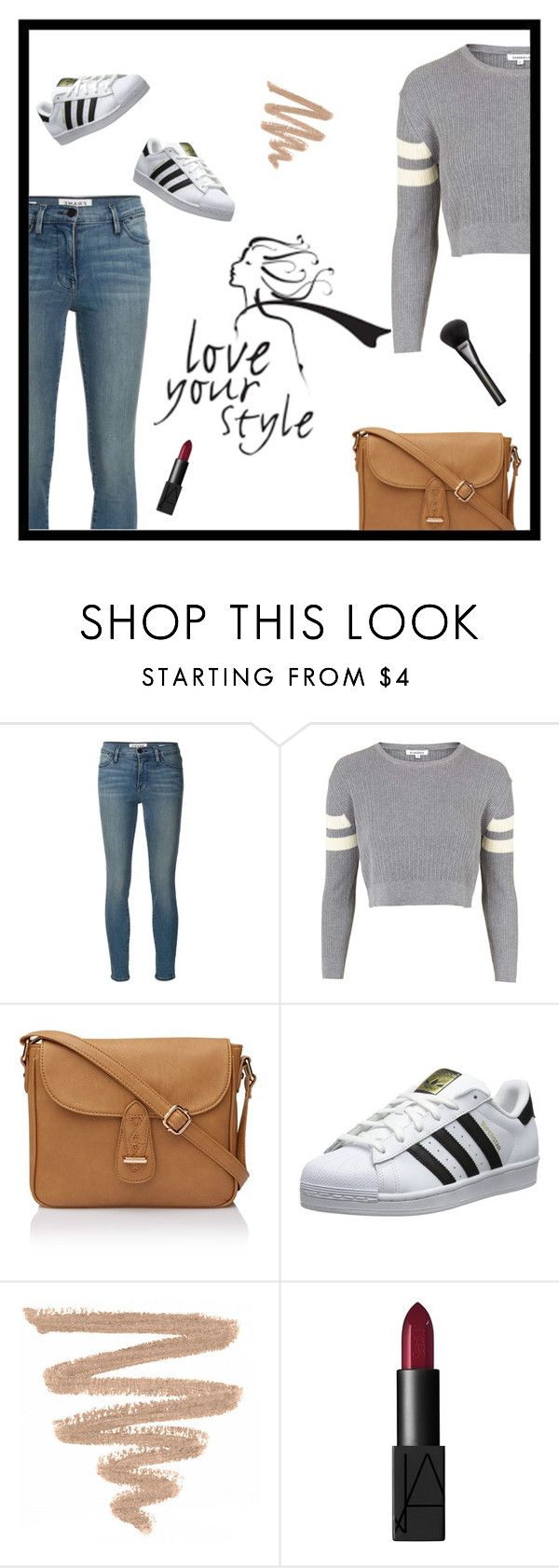 """superstar"" by nitsanvalder ❤ liked on Polyvore featuring Frame Denim, Topshop, adidas Originals, NARS Cosmetics, Gucci and superstar"