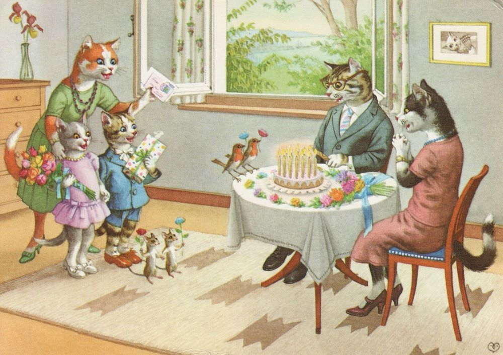 Eugen Hartung 4733 Deckle Edge Subway Confusion Mainzer Cats Alfred Mainzer Vintage Postcard Unused
