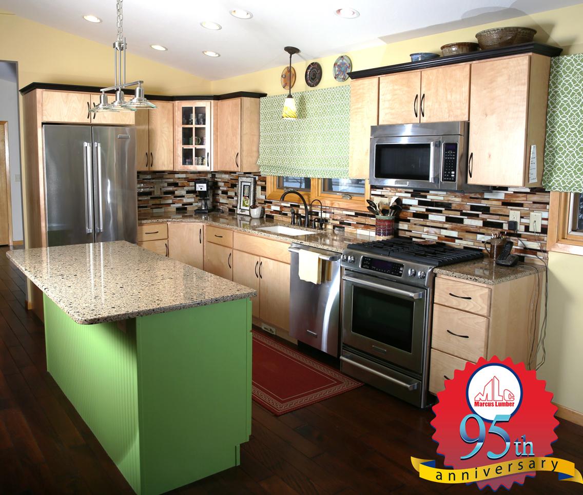 Birch Kitchen Cabinets: Birch Odyssey Harvest Kitchen Cabinets Completed With