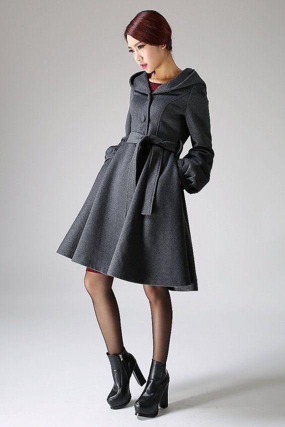 bd6924f0dce Hooded Swing Coat - Winter Wool Gray Women A-Line Shape Midi Length Coat  with Lantern Sleeves (1073)