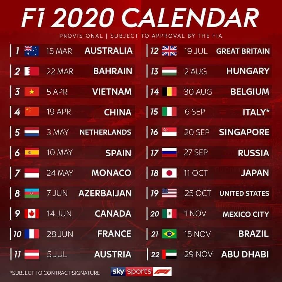 F1 2020 Schedule Formula 1 F1 Calendar Race Calendar