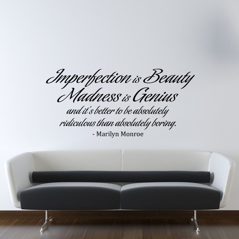 Marilyn Monroe Wall Decal Vinyl Imperfection Is Beauty Quote Living Room Bedroom Decor Wd0175