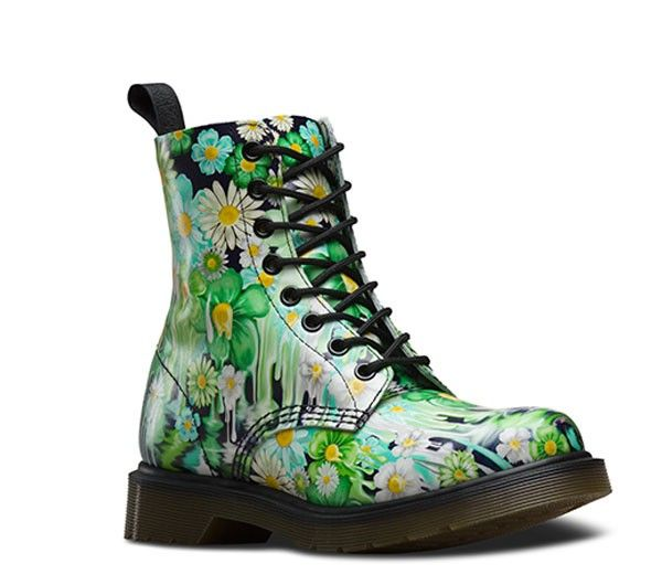 6d1abd6b8305 DR MARTENS Pascal Green Paint Slick Backhand Green White
