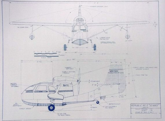 Republic rg3 seabee airplane blueprint by blueprintplace on etsy republic rg3 seabee airplane blueprint by blueprintplace on etsy 1899 malvernweather Image collections