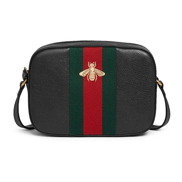 2977ec697d58 Gucci 'Webby' bee embroidery web leather crossbody bag (4,090 SAR) ❤ liked  on Polyvore featuring bags, handbags, shoulder bags, black, leather  crossbody ...