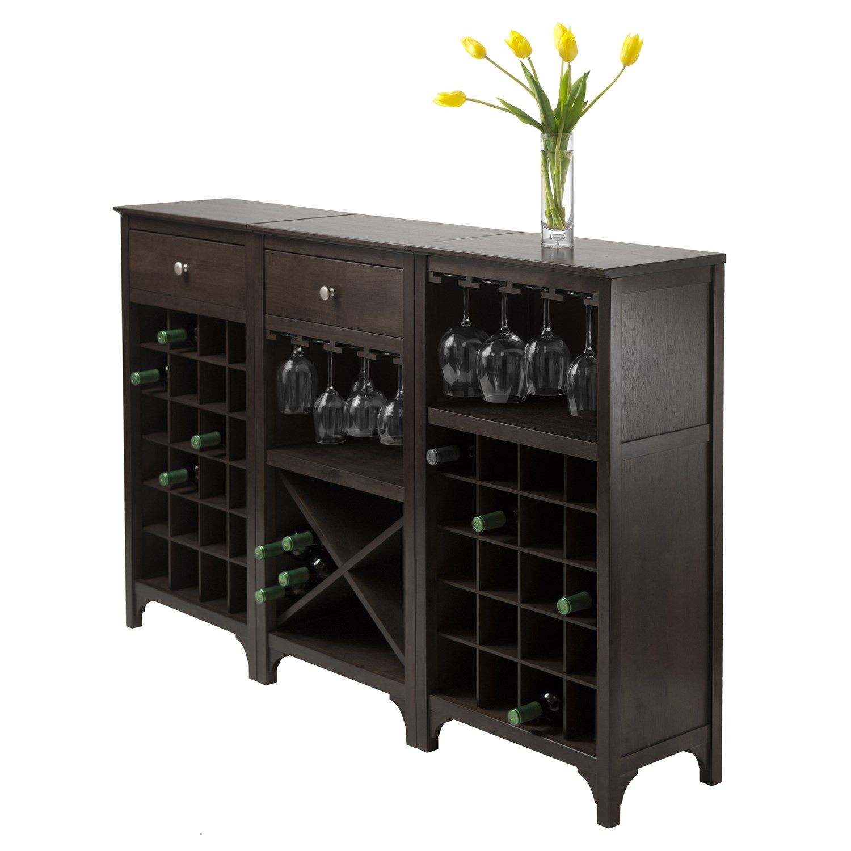 wine bottle storage furniture. Winsome 92729 Ancona Modular Wine Cabinet With Glass Rack And 20 Bottle Storage In Dark Espresso Furniture