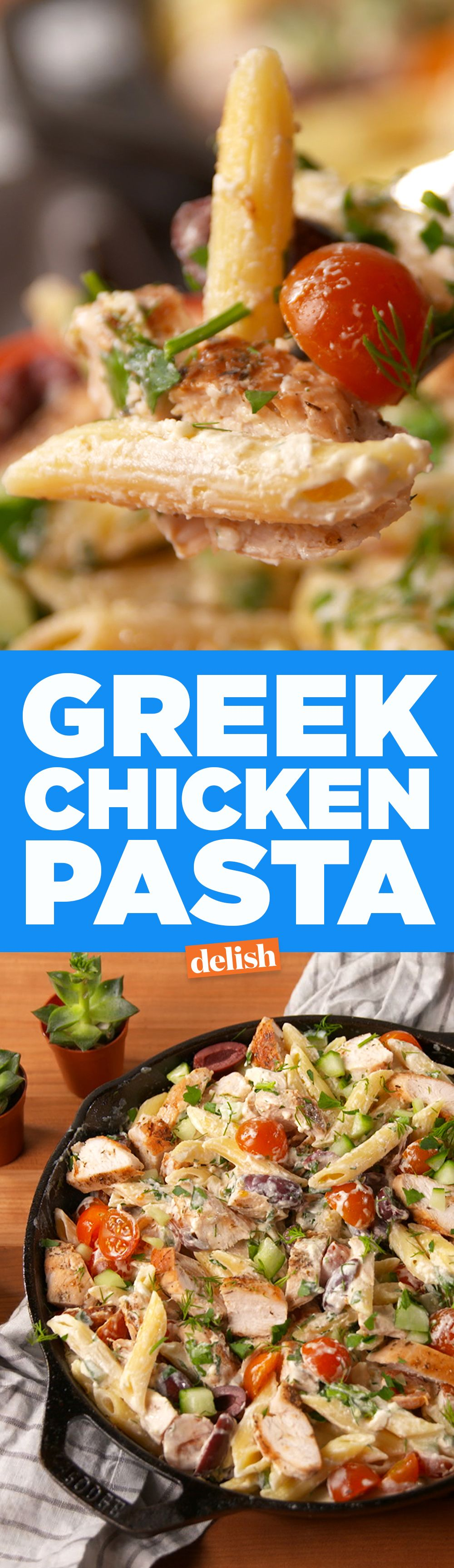 This Greek Chicken Pasta tastes like summer. Get the recipe on Delish.com.