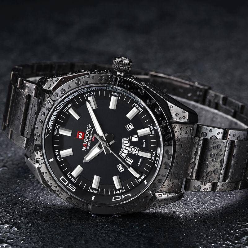 c7de8c568 Naviforce relogio masculino relógios homens marca de luxo completa aço  preto homens japão relógio de quartzo calendário homens relógio do esporte  relógio de ...
