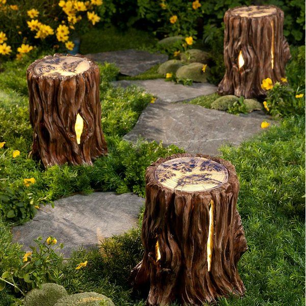 Solar Tree Stump Light Fairy Garden is part of garden Lighting Tree - Add a sense of magic and mystery to your outdoor spaces with Wind & Weather Solar Tree Stump Light Fairy Garden  Realisticlooking tree stumps are crafted from weatherresistant resin for yearround outdoor display and blend into your landscape just like the real thing  The top of each stump is translucent and adorned with silhouettes of butterflies and flowers  After dark, solarpowered lights inside the stump create a lovely glow that shines through the top and through the cracks in the sides  Definitely a unique way of adding some light to your outdoor spaces