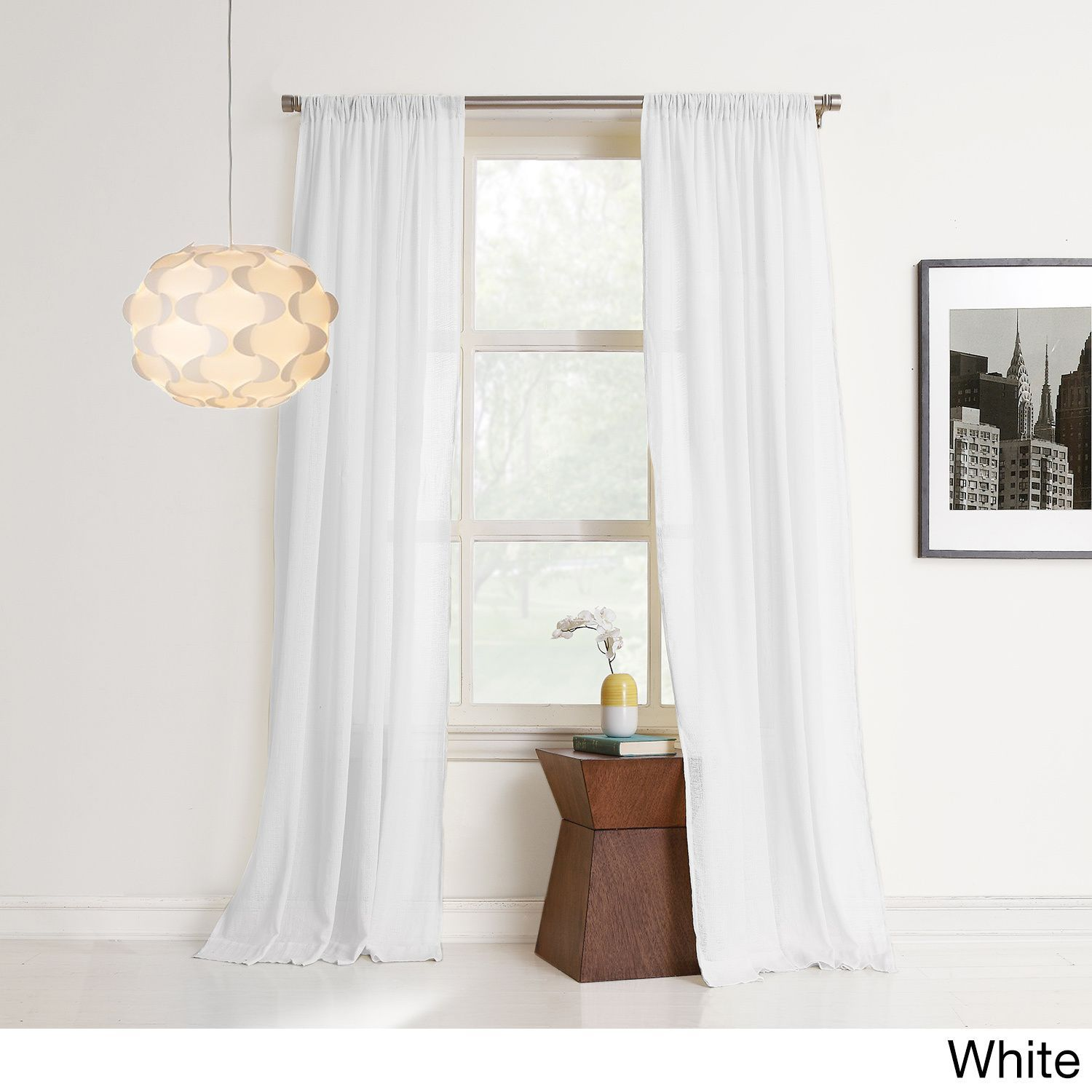 No 918 Hendricks Sheer Cotton Gauze Window Curtain White 95 Inch