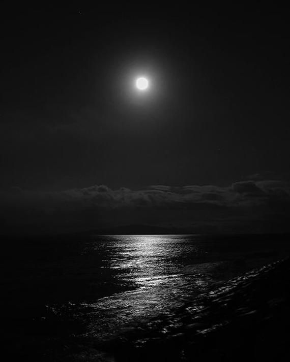 Art print, wall decor, black and white, photography, home decor, fine art, full moon, seascape, dramatic, lunar, night art, ocean, moon glow
