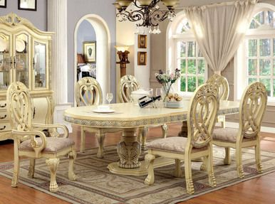 112 Versailles Antique White 7pc Dining Table Set Formal Dining