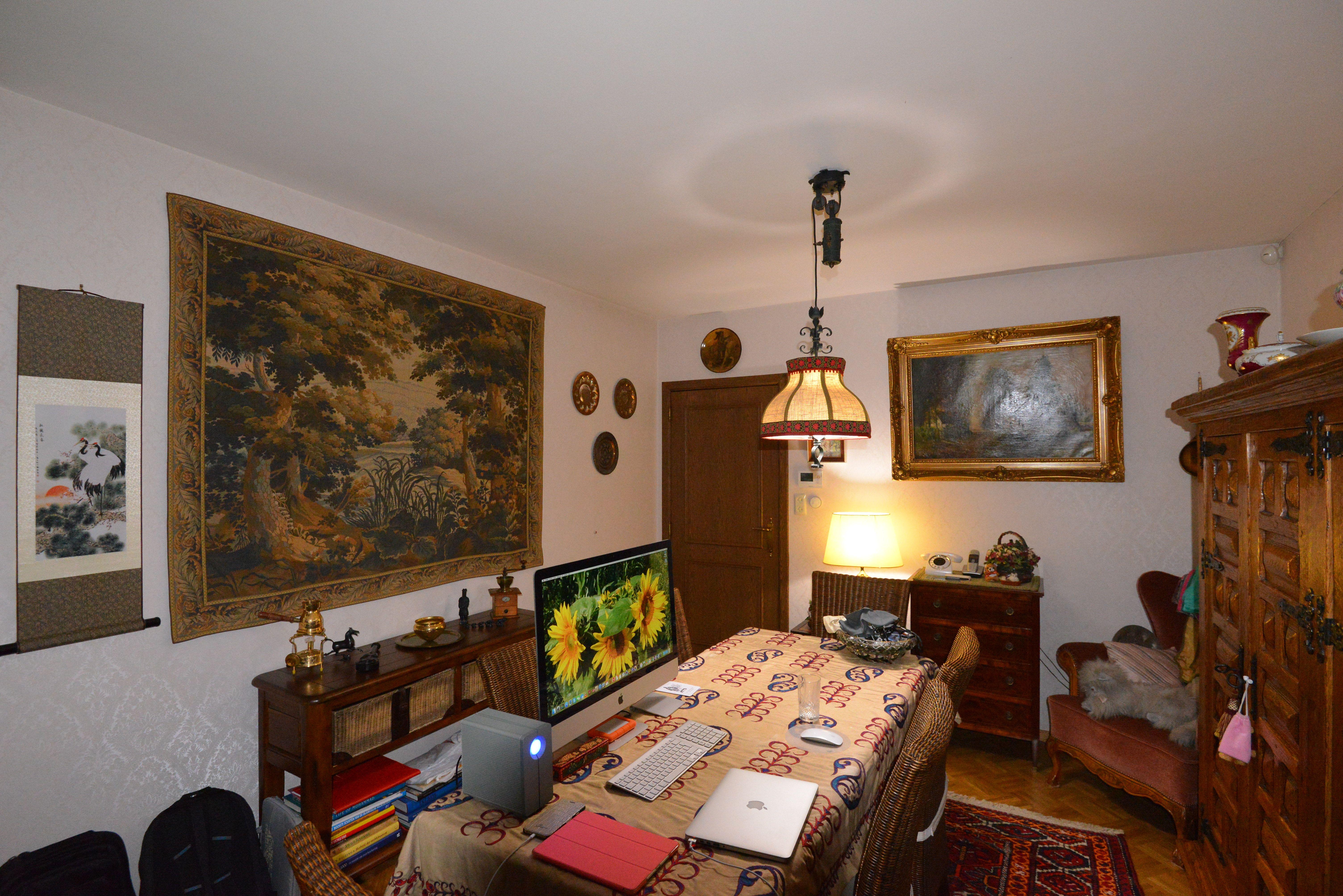 Eetkamer, met achteraan toegang keuken, links wandtapijt, vooraan schilderij