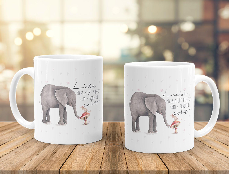 Kaffeetasse Liebe muss nicht perfekt sein sondern echt Elefant Maus ...