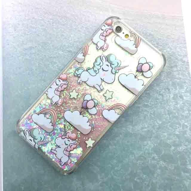 Cute Cartoon Unicorn Case For iPhone 6 6S Dynamic Glitter Stars ...
