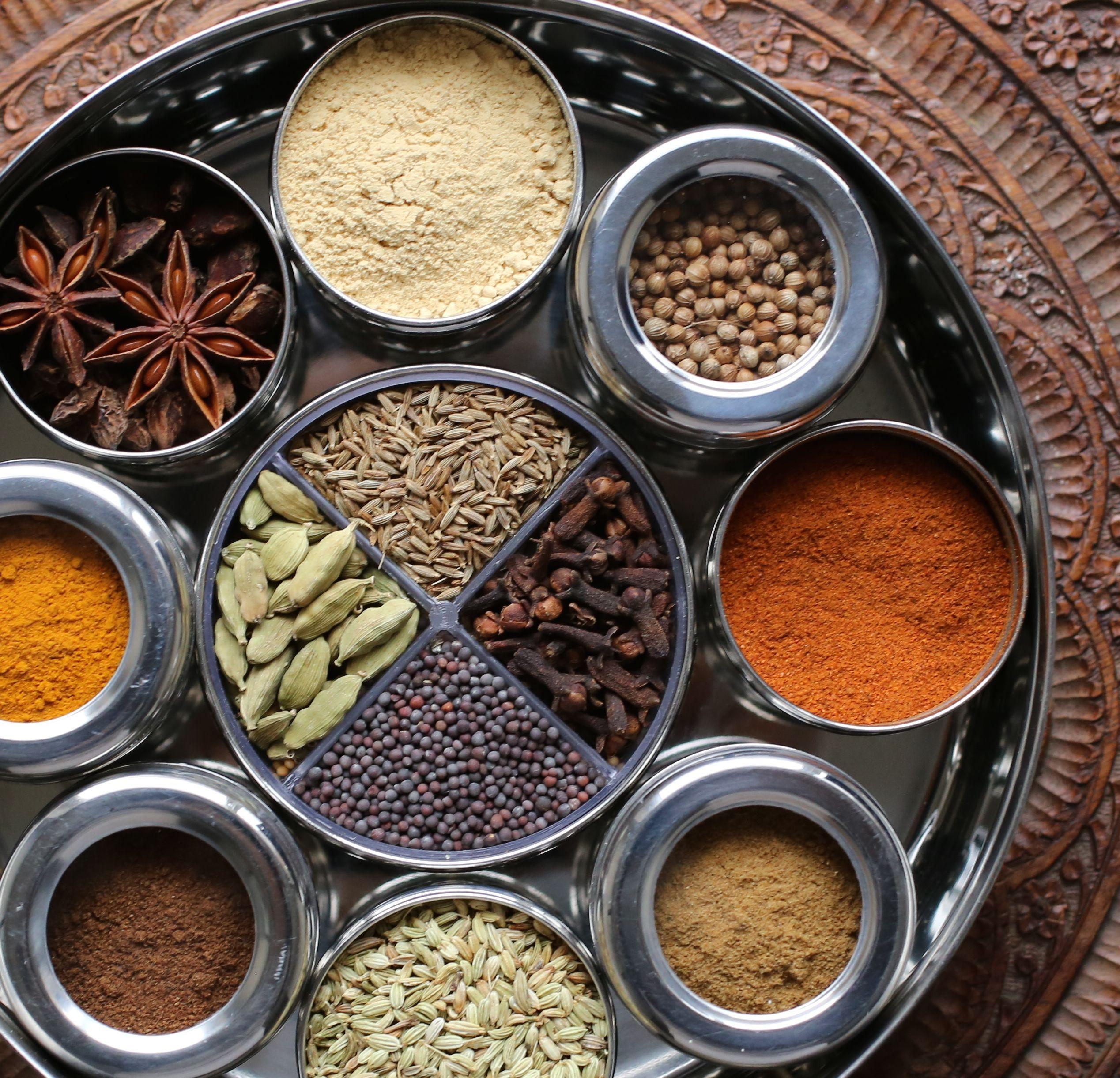 High Quality Indian Spice Tin Box Masala Dabba Spices Box Storage