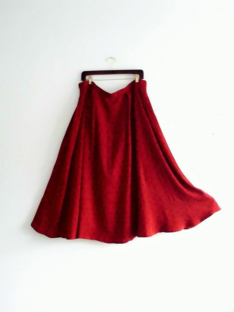 Silk Red Navy Polka Dot Maxi Skirt by KheGreen on Etsy