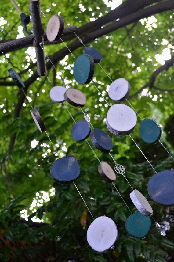 Wooden Garden Mobile Colorful Wood Rounds Silent by MiscKDesigns
