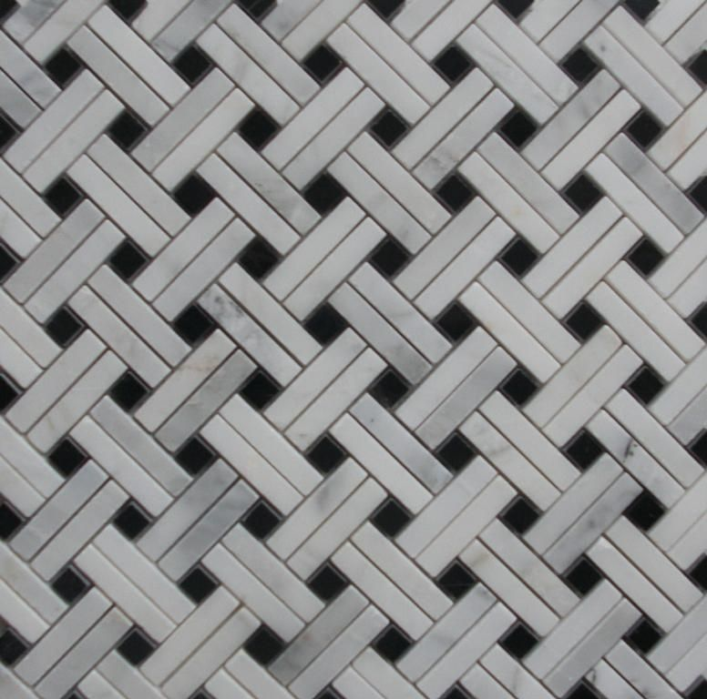 double marble black and white basket weave | Interiors | Bathrooms ...