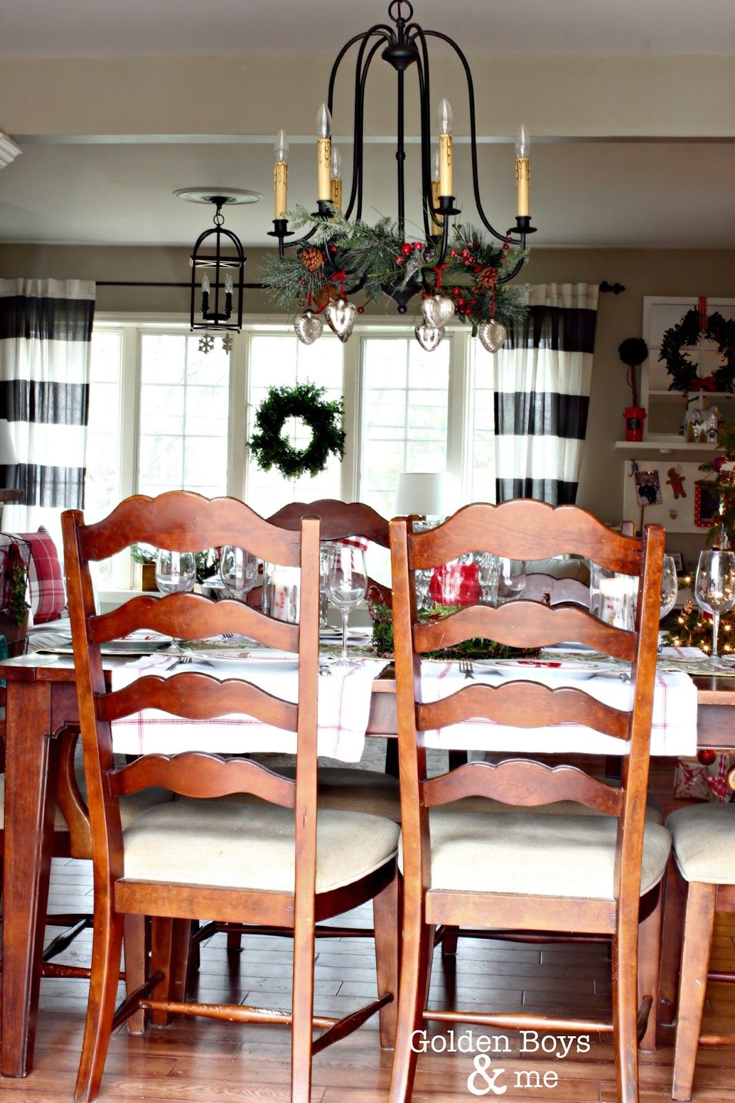 World Imports Brondy chandelier with mercury glass ornaments-www.goldenboysandme.com