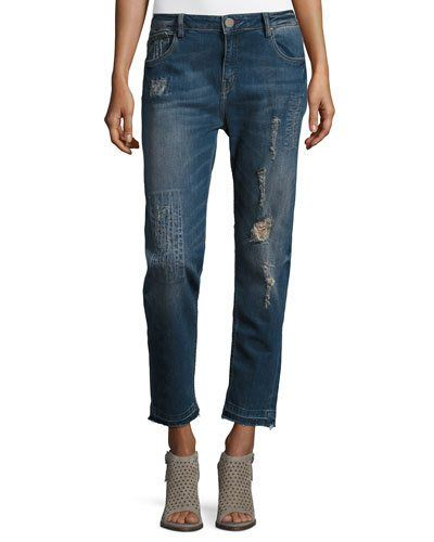 Distressed Straight-Leg Jeans, Dark Wash