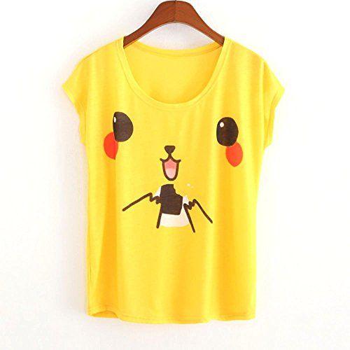 "d5644ca33 New women's wear women's Pikachu printing T-shirt in summer Loose shirt  collar Size *One Size Bust 96cm/37.79""——–Shoulder Breadth  40cm/15.74""——–Length ..."