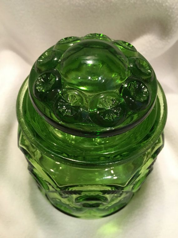 LE Smith Green Vintage Canister with Lid