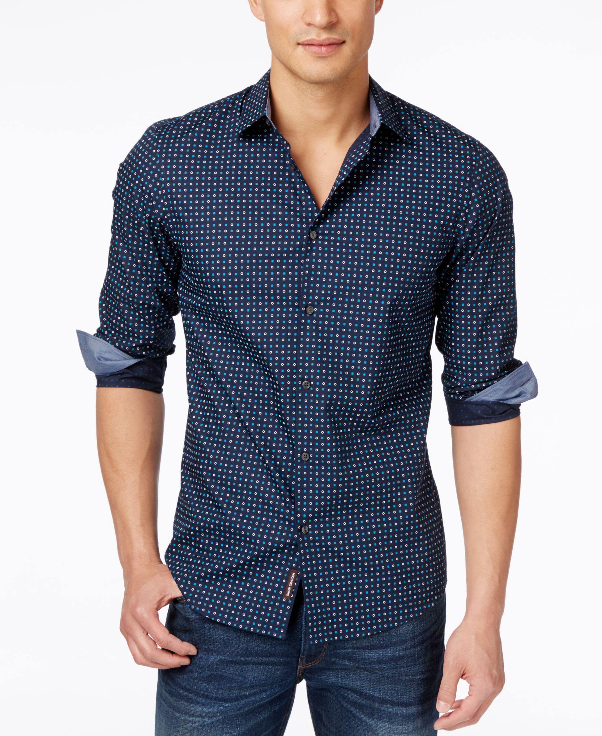 Michael Kors Men's Damien Slim-Fit Mini-Geometric Print Long-Sleeve Shirt