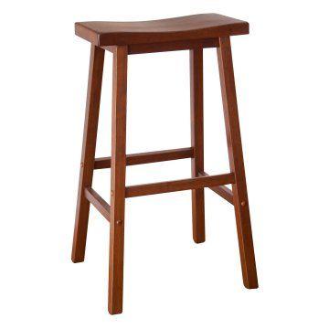 Winsome Wood 29 Inch Rta Single Saddle Seat Bar Stool Walnut