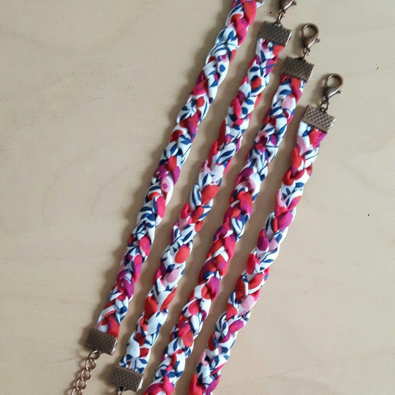 Bracelet tressé, manchette Liberty London Wiltshire, rouge, rose, bleu