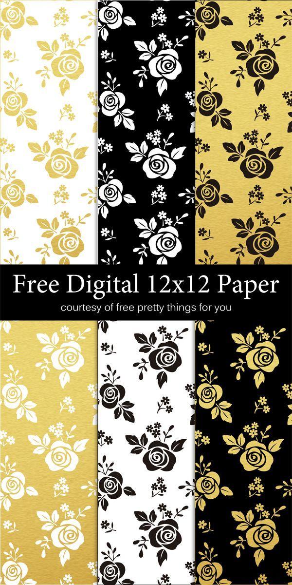 Scrapbook Paper Black White And Gold Leaf Free Digital Scrapbook
