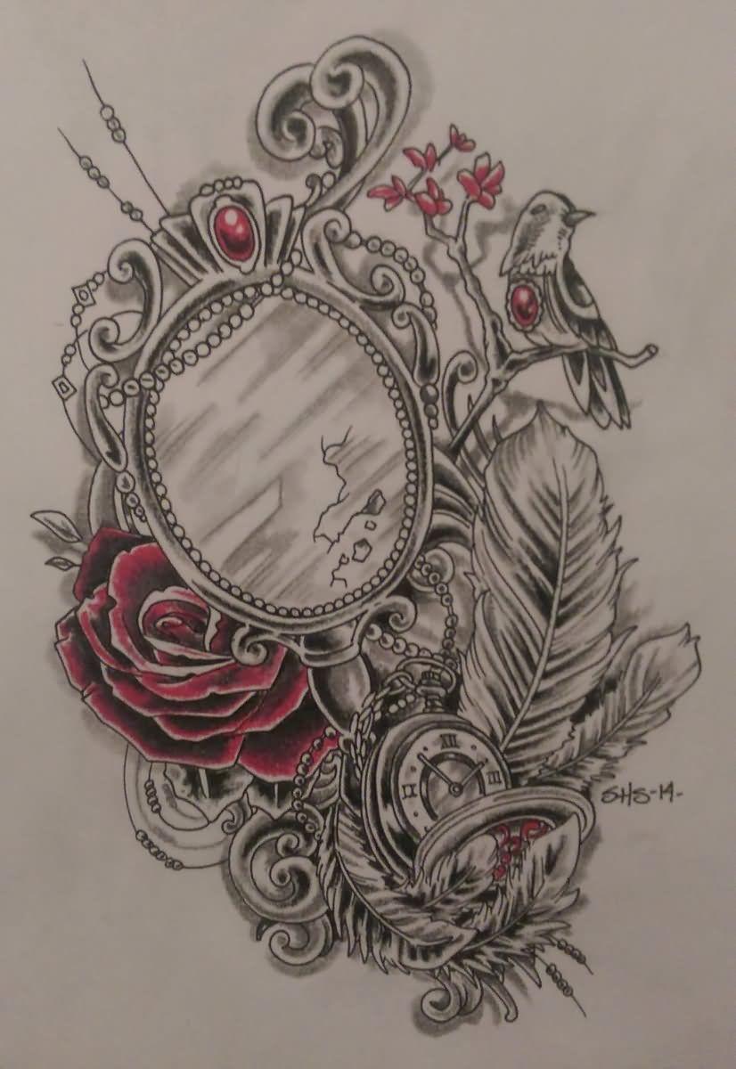 25 Victorian Hand Mirror Tattoo Vintage Tattoo Sleeve Vintage Tattoo Mirror Tattoos