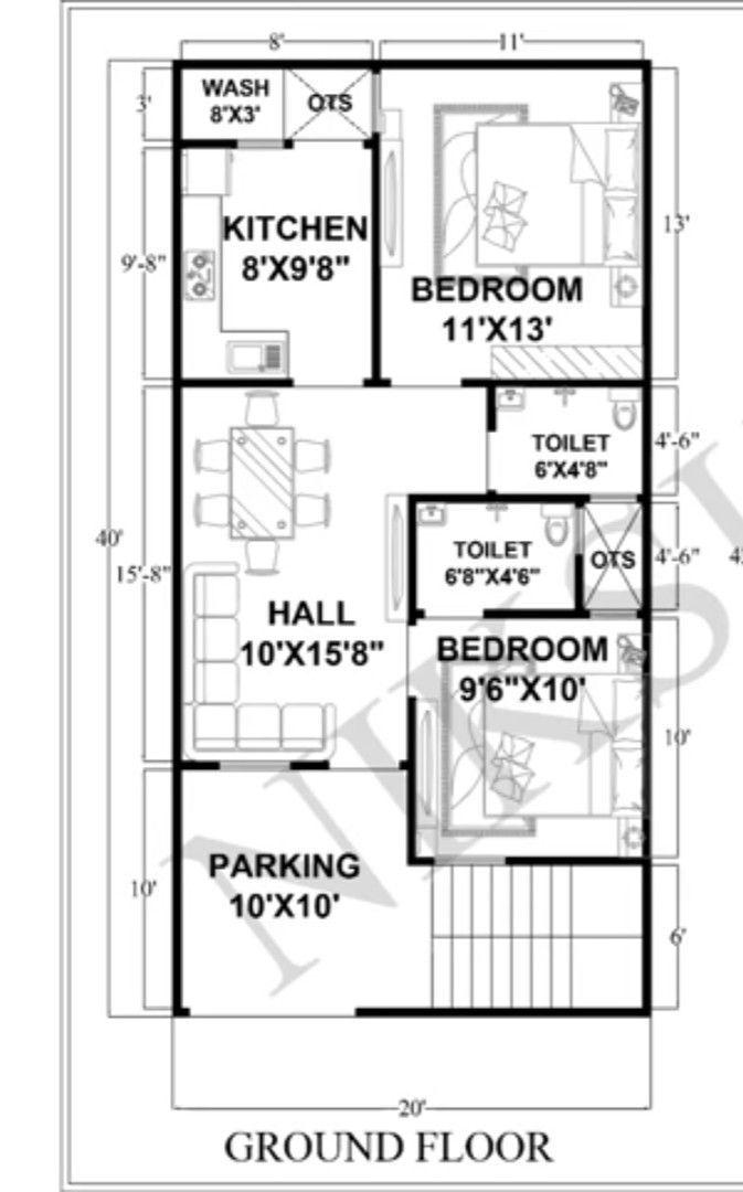 Pin By Sagar Gorule On Casa Bola 20x40 House Plans 30x40 House Plans 20x30 House Plans Simple house plan with loft
