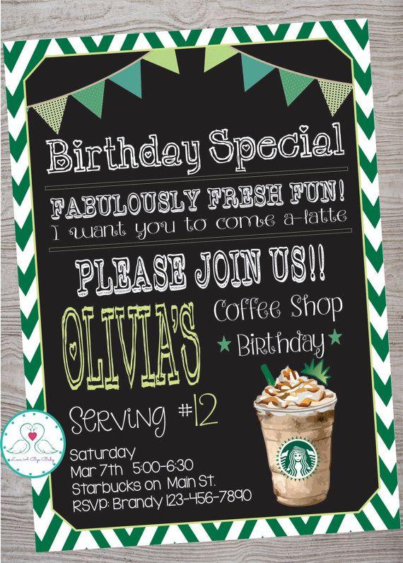 Starbucks Cafe Coffee Shop Inspired Birthday Party invitation by - fresh birthday party invitation designs