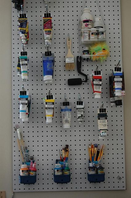 How To Organize Your Acrylic Paints And Paint Brushes Small Art Studio Art Studio Organization Paint Storage