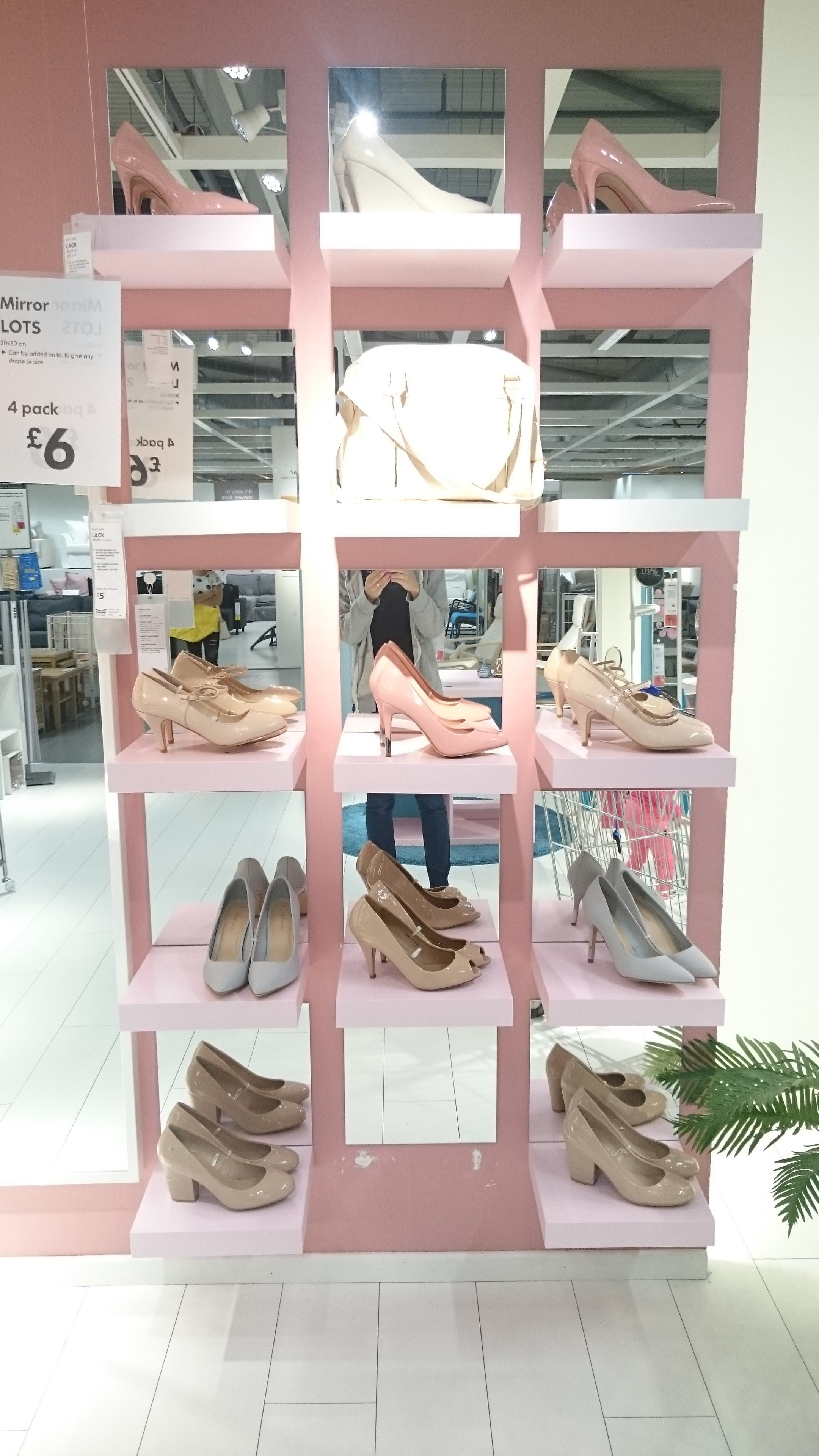 Ikea \'Lack\' shelves and \'Lots\' mirrors for an unusual shoe rack ...